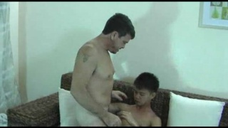 Asian boy loves daddy's cock