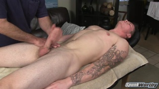 inked stud wanked off on massage table