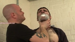 bound and gagged guy gets hole abuse