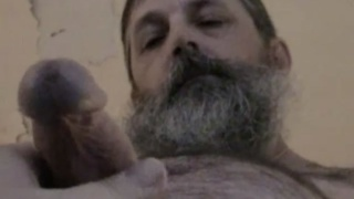 bearded redneck truck driver cums on belly