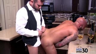 hairy men fucking in kitchen