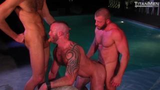 nighttime poolside threeway