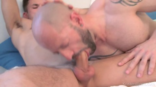 bald man sits on lover's fat dick