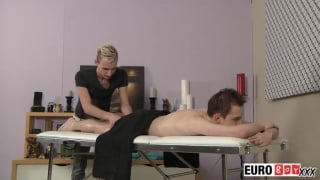 euro boy gets massaged and screwed ont he table