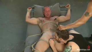 Bound Beau Warner Gets Dick Stroking