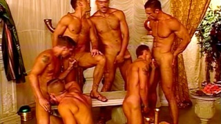 Swollen cocks in heated orgy action
