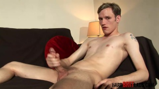 blond gymnast jacking his long cock