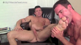 licking and worshipping muscle hunk's feet