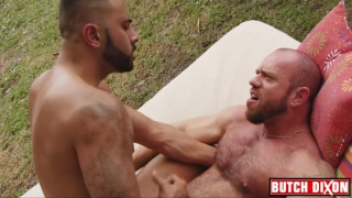 sexy bearded men fuck on outdoor bed