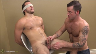 furry hunk blindfolded and blown