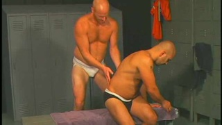Mature guys have sex in the locker room