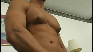 Dark and muscular man jacking