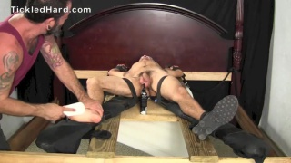 Milo shoots a load after tickling session