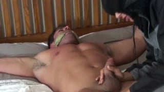 bound bodybuilder gets his dick teased