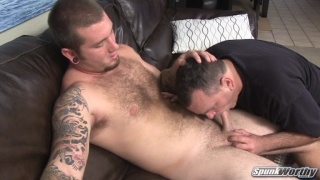 furry stud getting his dick sucked