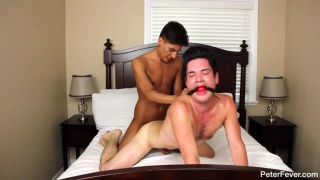 gag ball in mouth, cock up his ass
