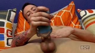 slim twink uses masturbation sleeve on his cock