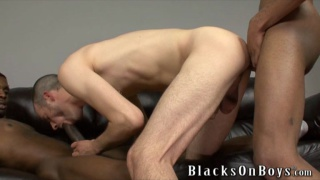 hungry white bottom takes care of 2 black cocks