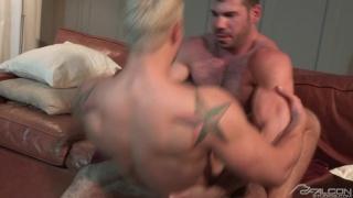 hairy muscle stud fucks blond's bubble butt