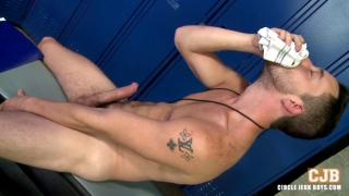 hung stud wraps dick in jockstrap and beats off