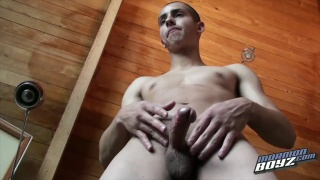 mormon lad with shaved head jerking his cock