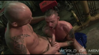 horny mechanics fuck in boiler room