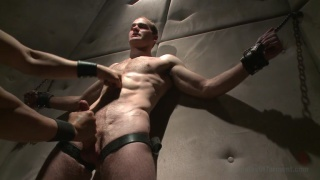 Straight hunk John Smith chained to the wall