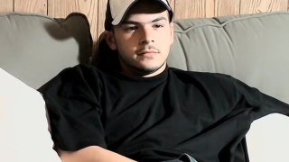 straight badass strokes his thick cock