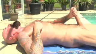 Bearded Daddy Beating off by the pool
