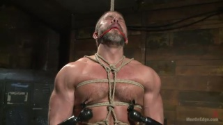 cock edging a bound hairy hunk