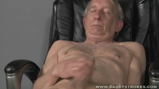 wrinkly grandpa jacking off