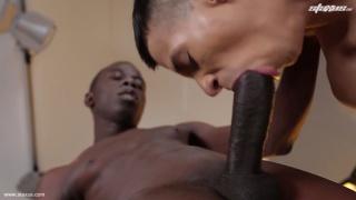 skinny lad struggles with a huge black dick