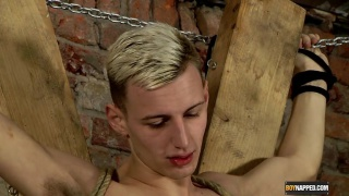 blond lad tied to a cross and sucked off