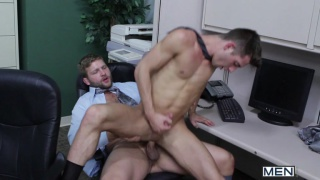 Office Work Sits on Beefy Guy's Dick
