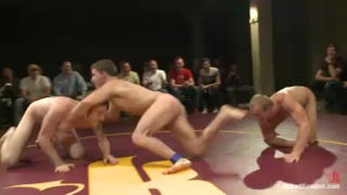 4 naked wrestlers tag team fighting
