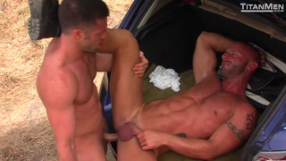 big-dicked top fucking ass in truck