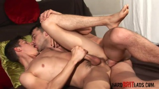 cute brit takes a fat curved cock up his ass