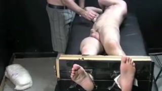 Bound guy gets feet tickled