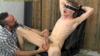 blindfolded, blown and handjob