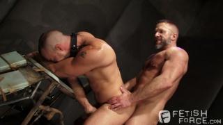 bearded master fucks his prisoner's ass