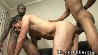 2 black top spit roast fuck white boy's ass