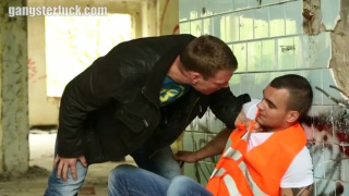 construction worker gets roughed up