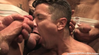 6 horny men feed Trenton Ducati's mouth