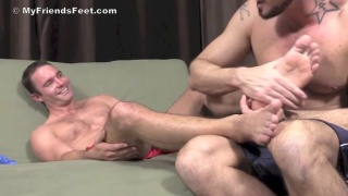 foot licker gets his bare feet worshipped