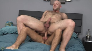 hairy muscle hunk takes a long dick