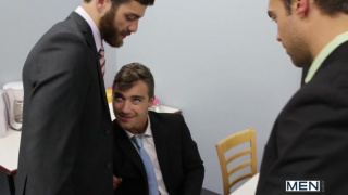 business men in lunch time threeway