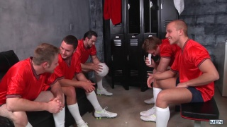 5 soccer players gang bang in locker room
