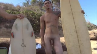 Naked Surfers with their Boards