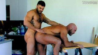 huge bald man fucked by hairy top