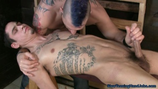 inked guy gets long teasing handjob